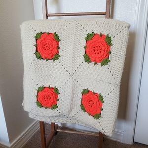 Crochet Afghan Rose Flower Square Blanket Cream
